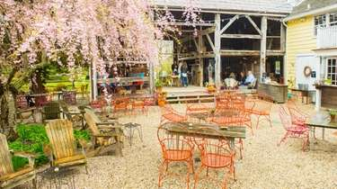 The outdoor area of the Croteaux Vineyards tasting