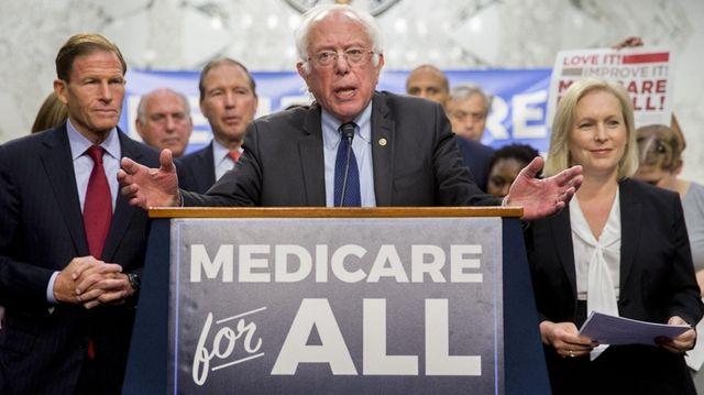 Sen. Bernie Sanders speaks during a health care