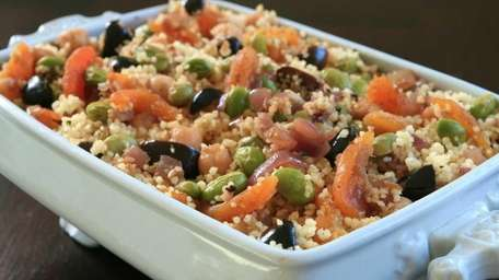 Couscous, chickpeas, dried apricots and olives make a