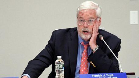 MTA chairman Pay Foye during an MTA hearing