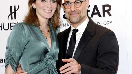 Actor Stanley Tucci and fiancee Felicity Blunt at