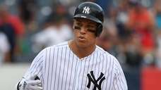 Yankees rightfielder Aaron Judge reacts on second base