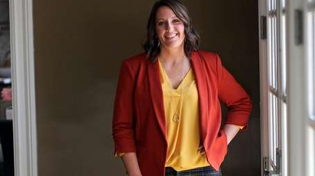 Kristen Meyer wears a cinnamon blazer ($29.99; regularly