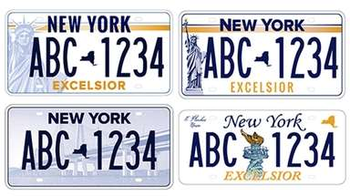Four of the five license plate designs vying