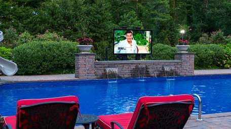 An 86-inch weatherproof outdoor TV, one of the