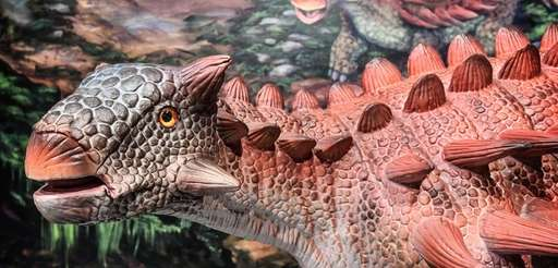An animatronic Ankylosaurus from the Dinosaurs! exhibit on