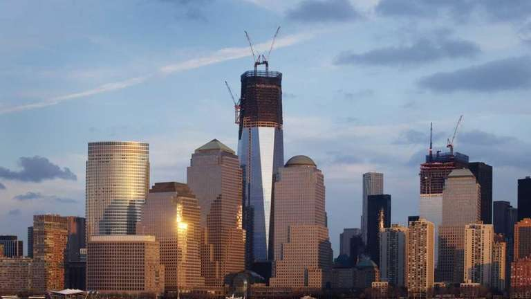 The new World Trade Center buildings rise above