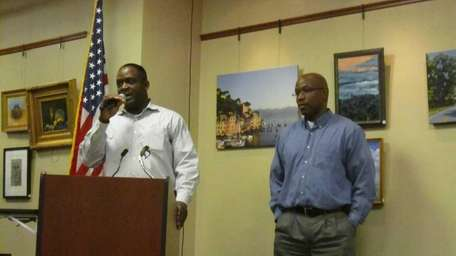 Filmmakers Dedrick Johnson, left, and Lloyd Means introduce