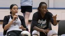 New York Liberty's Bria Hartley, left, and Tina