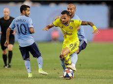 New York City FC forward Heber (9) of