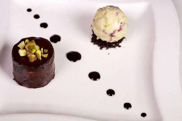XO's chocolate mousse with blackberry ice cream