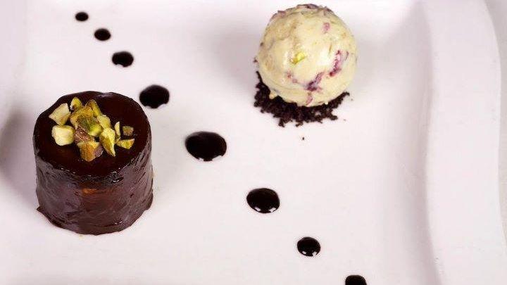 XO's chocolate mousse with blackberry ice cream