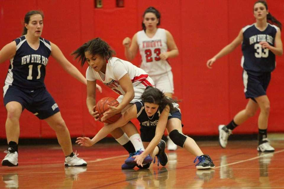 Floral Park's Kaela Hilaire, left, and New Hyde