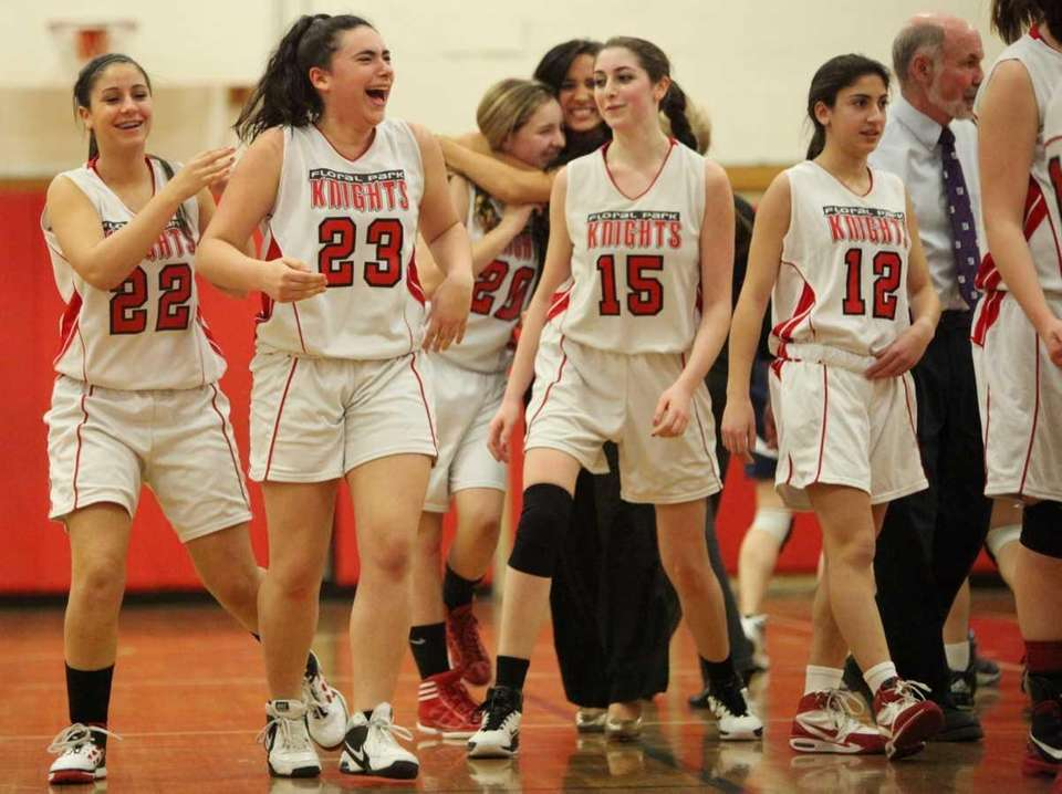 Floral Park celebrates their win over New Hyde
