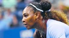 Serena Williams looks for a serve from Anastasija