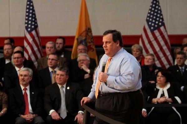 N.J. Gov. Chris Christie listens to a question