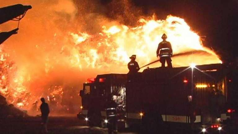 Firefighters battle a huge blaze at the Long