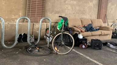 A Facebook photo shows a homeless man on