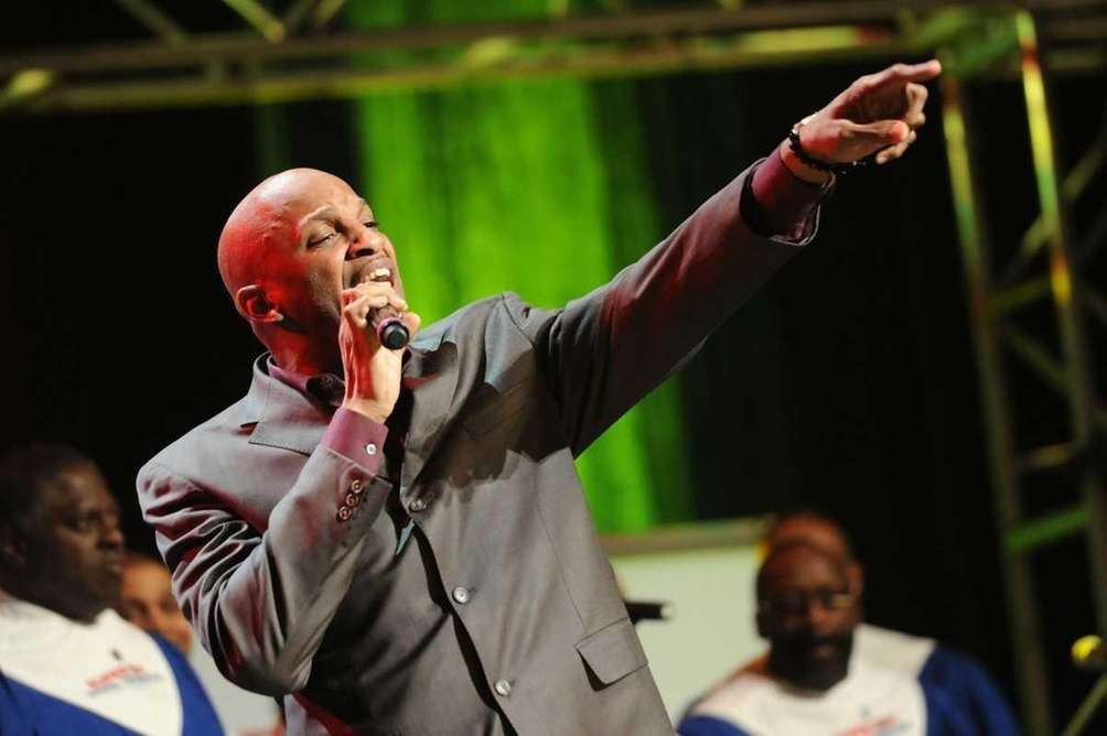 Donnie McClurkin performs at the Super Bowl Gospel