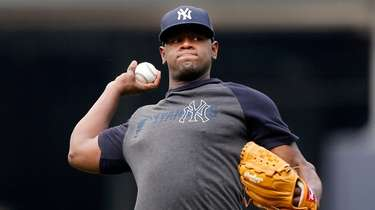 Luis Severino, shown working out at Yankee Stadium