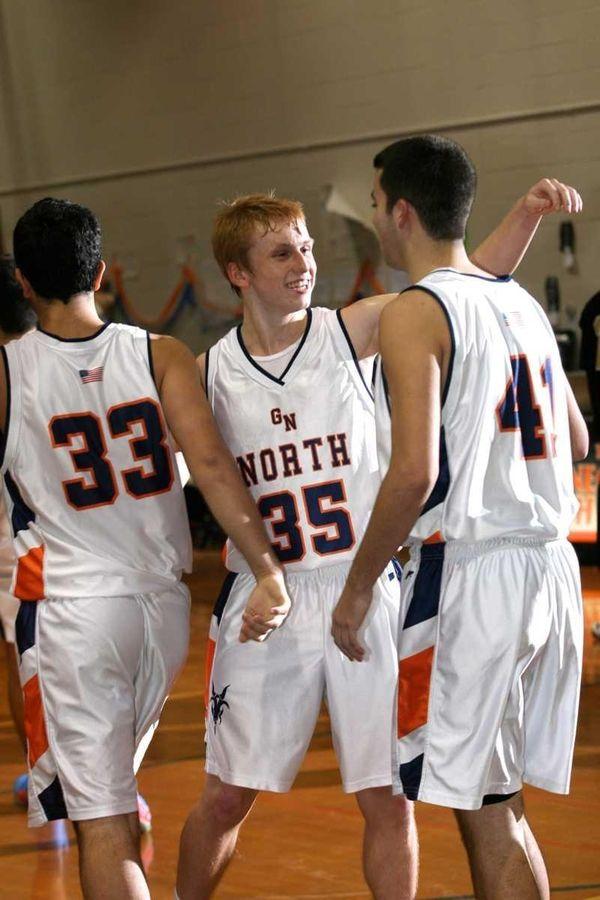 Great Neck North's Alec Ludwig, center, Jonah Gorjian,
