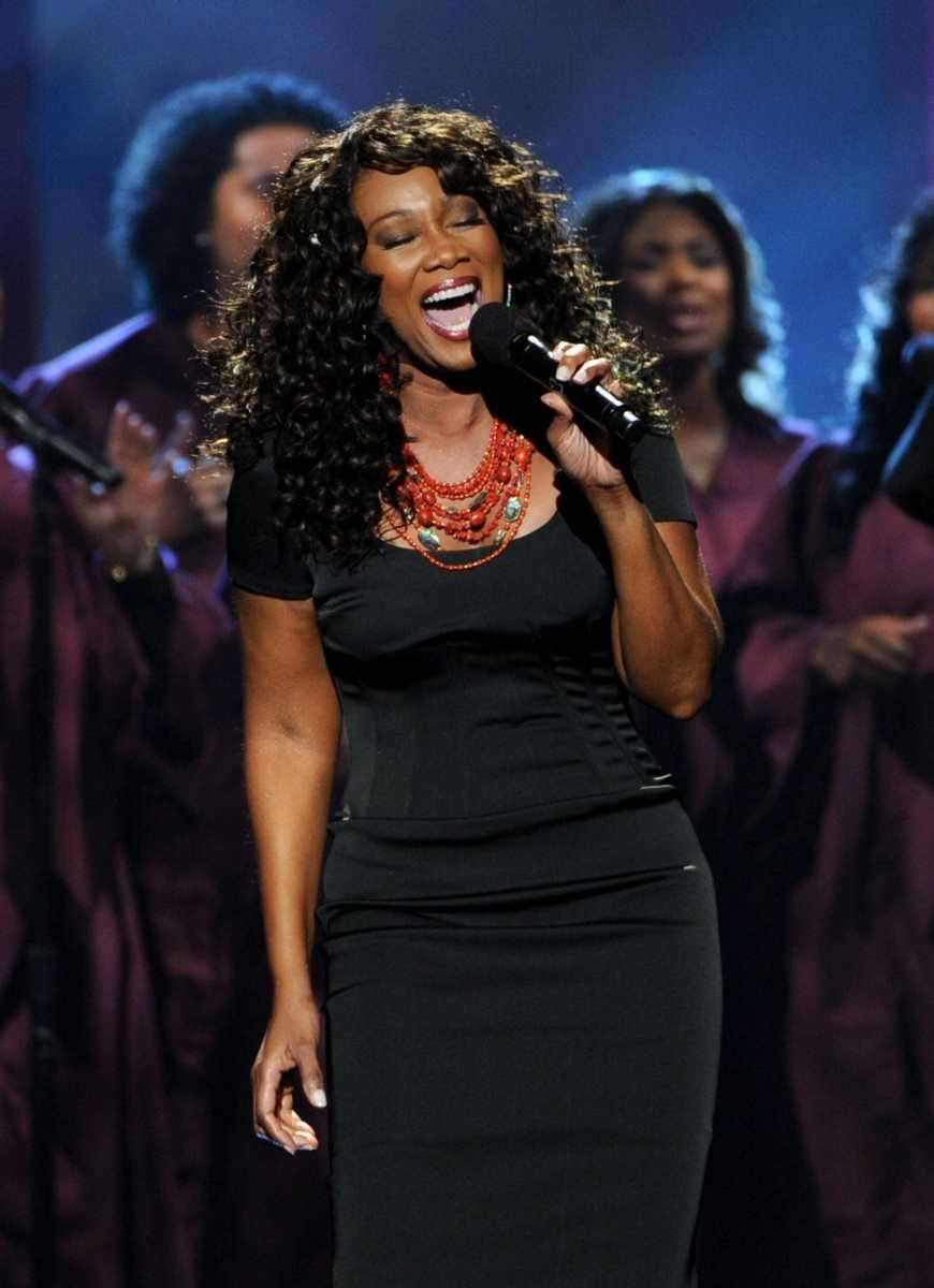 Yolanda Adams performs a tribute to Whitney Houston