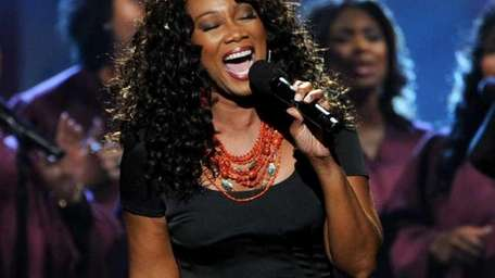 Yolanda Adams performs a tribute to Whitney Houston