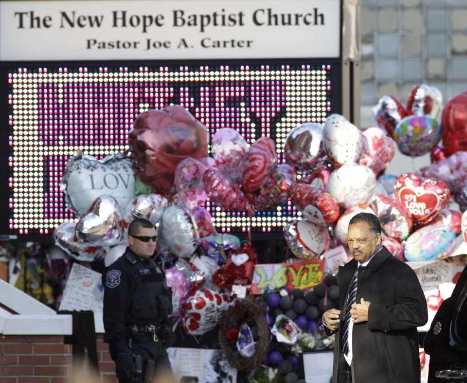 Rev. Jesse Jackson arrives at the New Hope