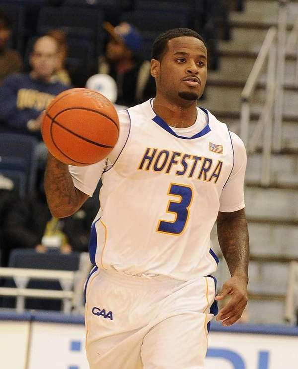 Hofstra guard Stevie Mejia brings the ball downcourt