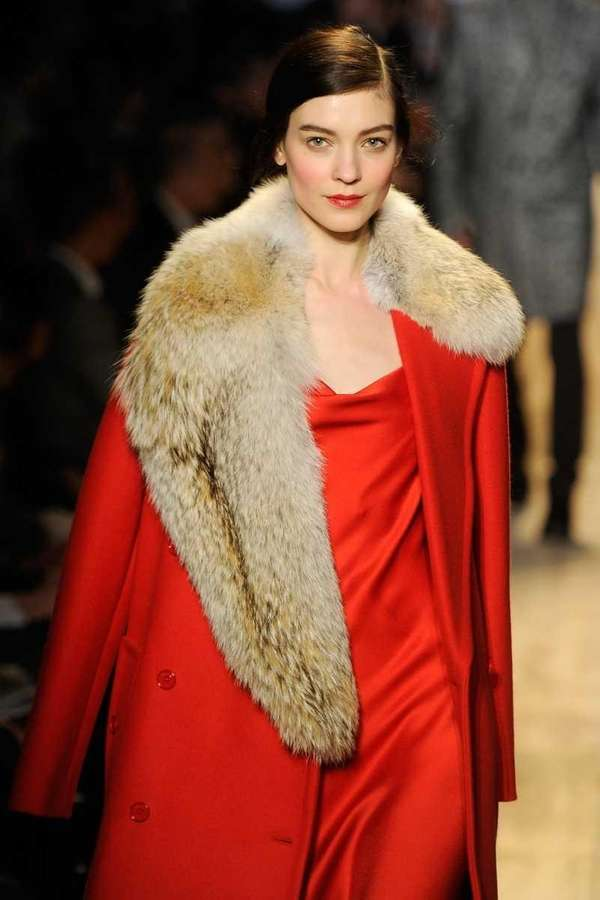Fur-trimmed coat, Michael Kors