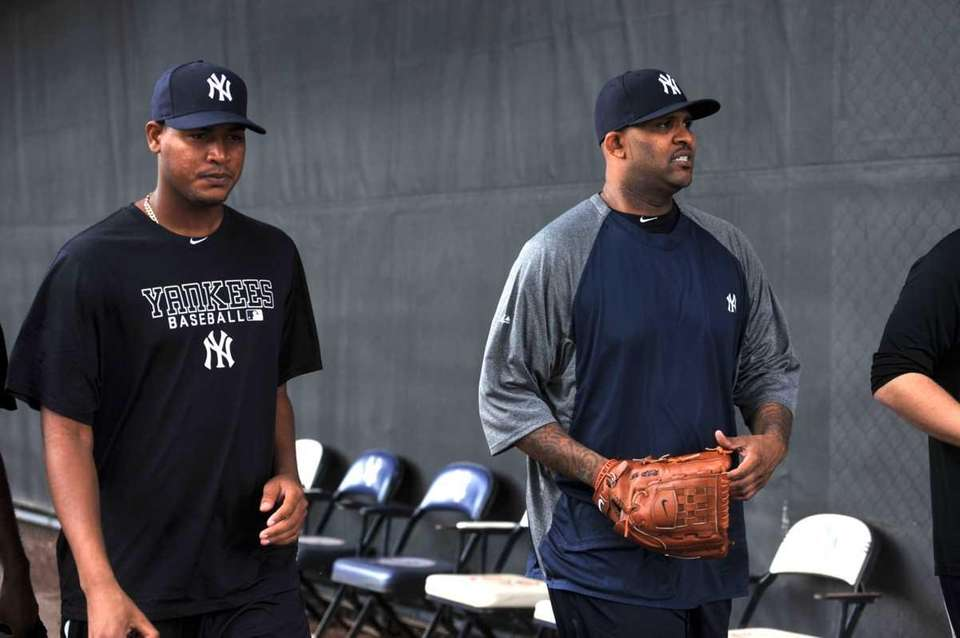 New York Yankees' pitchers Ivan Nova and CC