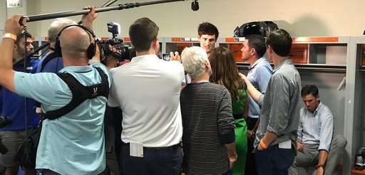 Giants rookie quarterback Daniel Jones is surrounded by