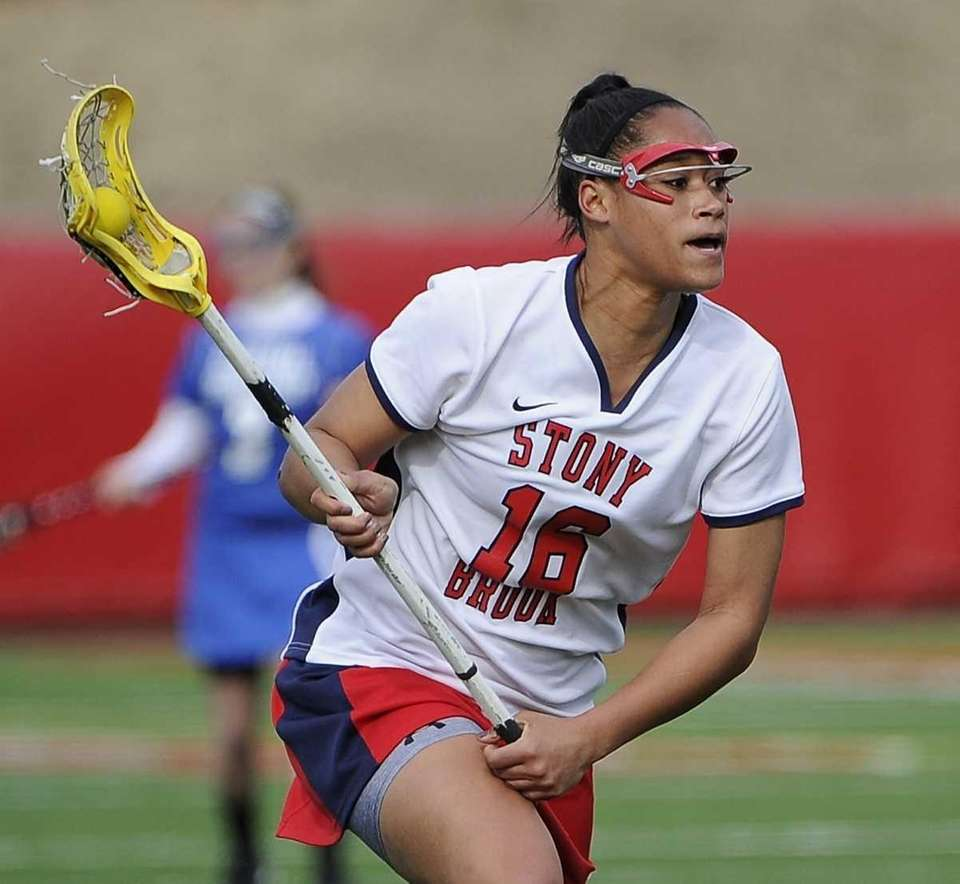Stony Brook midfielder Demmianne Cook controls the ball