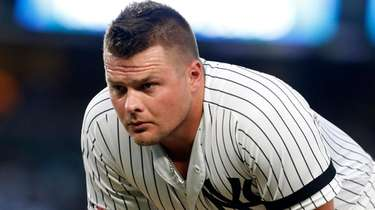 Luke Voit of the Yankees after striking out