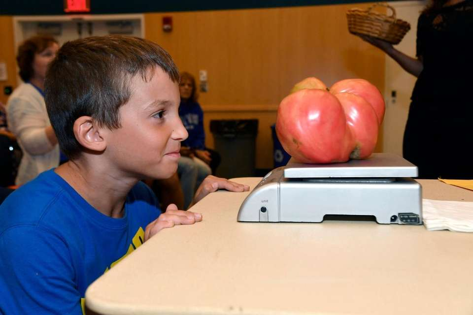 Vincenzo Abbatiello, 8, of Greenlawn, watches as his