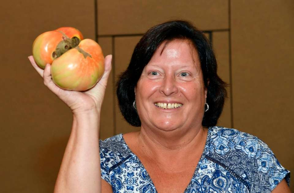 Colleen Cloud of West Islip and her tomato