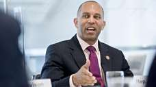 Representative Hakeem Jeffries (D-NY) speaks during an interview