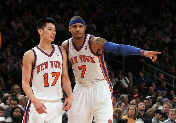 Carmelo Anthony and Jeremy Lin of the New