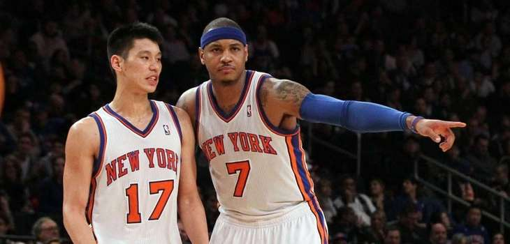 Jeremy Lin and Carmelo Anthony of the Knicks