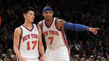 Jeremy Lin and Carmelo Anthony of the Knicks