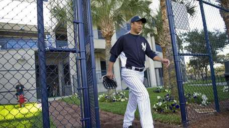 New York Yankees pitcher Hiroki Kuroda enters the