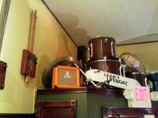 These drums and other items sit perched above