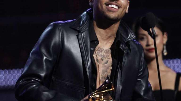 Chris Brown accepts the award for best R&B