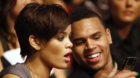 Rihanna and Chris Brown at the MTV Movie
