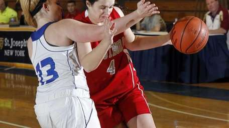 Southold's Melissa Rogers (4) drives against Shelter Island's