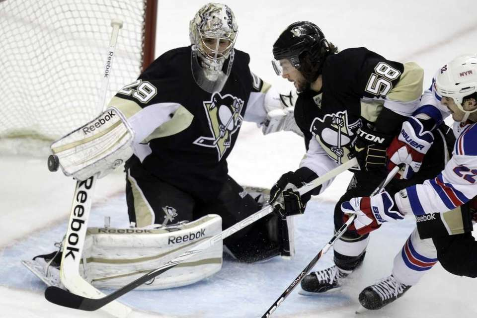 Pittsburgh Penguins goalie Marc-Andre Fleury (29) blocks a