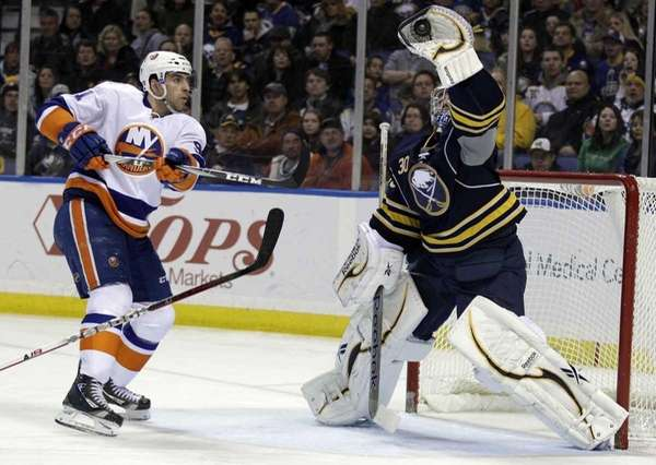 Buffalo Sabres goalie Ryan Miller makes a save