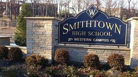 The entrance to Smithtown High School West on