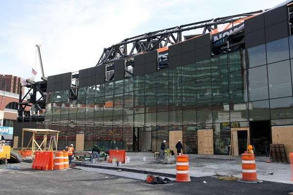 The main entrance of the Barclays Center under