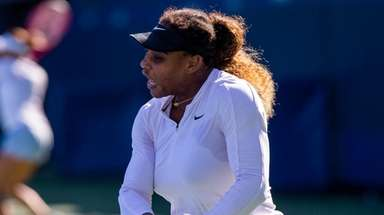 Serena Williams practices for the U.S. Open on